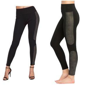 SPANX Faux Leather Panel Ponte Leggings Shapewear